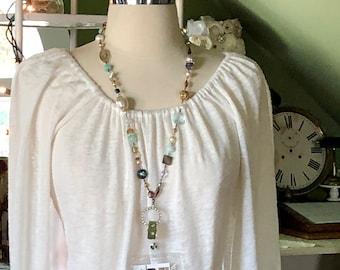 Beaded Id badge holder, lanyards, eye glass holder, beaded necklaces, pastels, magnetic clasp, dressy lanyards, FREE SHIPPING