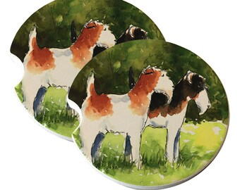 Wire Fox Terriers in Summer Natural Sandstone Drink Coaster Set Home Decor Car Terrier Lover Wire Fox Terrier Gift Dog Coaster Ceramic