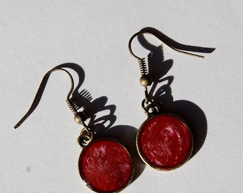 Pink Bronze Dangle Earrings