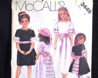 Flower Girl First Communion Special Party Fancy Dress Pattern Size 3 Tiered Ruffles Lace Eyelet Sash Ties Modest Sweet McCalls 3449 1980s
