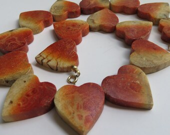 Vintage Apple Coral Necklace Apple Coral Heart Necklace Vintage Jewelry Vintage Heart Necklace Apple Coral Necklace 100 grams  Hearts