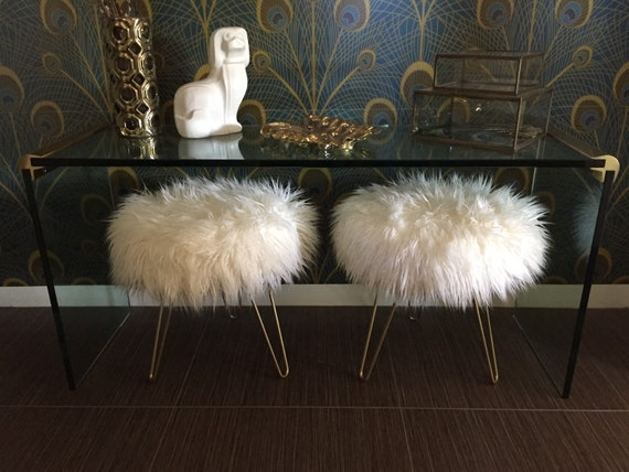 Made To Order Custom Off White Mongolian Faux Fur Stool