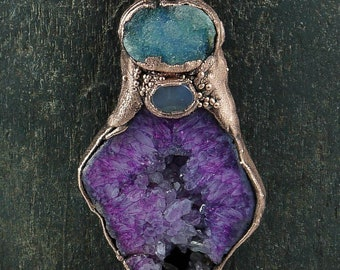 Purple and Blue Drusy  Electroformed Copper Pendant