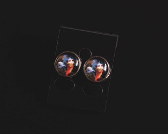 Labyrinth movie inspired worm image earrings