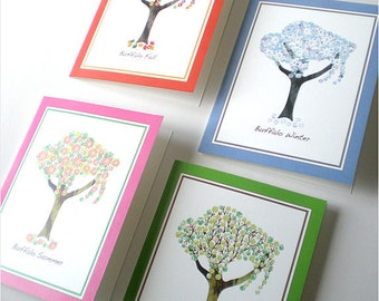 Buffalo Art Print - Four Season Buffalo Tree Notecards - set of 8
