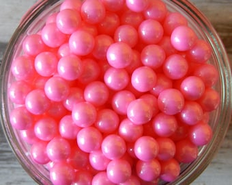 Pearlized Shiny Pink Large Sugar Candy Beads - 7mm Pearls, 2 oz - For Cupcakes - Cakes - Desserts - Edible Beads - Baby Shower Edibles