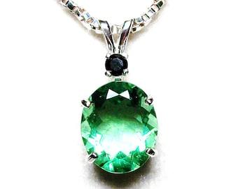 "Topaz, green topaz, green topaz pendant, topaz accent pendant, birthstone pendant, green black, ""Mint Chocolate Chip"""