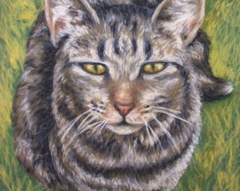 "PET PORTRAIT - Custom Painting in Acrylics on Canvas or Pastel-Original Cat Art 14""x18"""