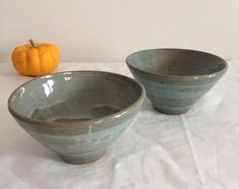 Set of 2 ceramic small bowls /Soup bowl/Light green&blue/Crazing/shipping free for domestic