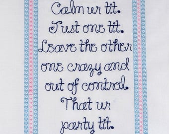 Calm ur party tit 5x7 machine embroidery design