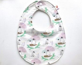 Organic Bib - Baby Bib - SALE - Handmade Bib - Penguin Baby Bib