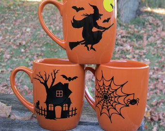 Halloween Witch, Haunted House, or Spider Web Mug 12oz.