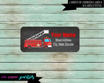 Fire Engine Truck Birthday Party Return Address Gloss Labels ~ We Print and Mail to You