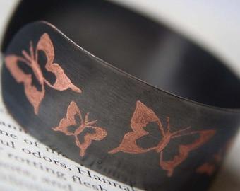 Copper Bracelet, Butterflies, Engraved Copper Bracelet, Womens Copper Bracelet, Personalized Bracelet, Custom Bracelet, Wedding Gift