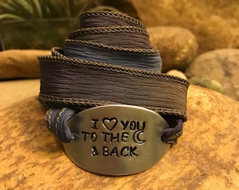 I love you to the moon and back silk wrap bracelet - yoga jewelry - Valentines Day gifts for men or women - wedding - proposal - gifts