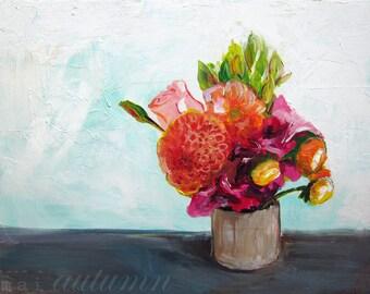 Floral Still Life Art - Summer Bouquet - 11x14 Giclee Print - Flower arrangement still life - Contemporary Modern Art