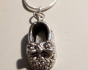 Baby Shoe Necklace Pendant Silver Necklace, Ornate, Mother, Child, New Mother, Baby Shoe, Sterling, Baby Shower Gift, Mother's Necklace,