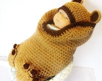 PDF  140 Brown Bear Cocoon and Hat Set Crochet Pattern