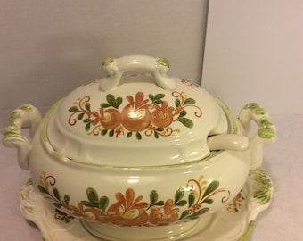 Vintage Large -Japan 4 Piece Soup Tureen  with Ladle and Serving Platter , Brown and Green Floral, Olive.  Branch, Shabby Chic Dining Decor