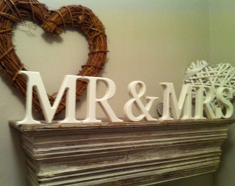 MR & MRS - Wooden Wedding Letters - 12cm high - Free-standing - Georgian Font