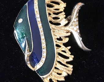 ENAMELED ANGEL FISH Brooch, Deep Green and Navy, Rhinestone Accents, Boucher Style  Rhinestone Accents