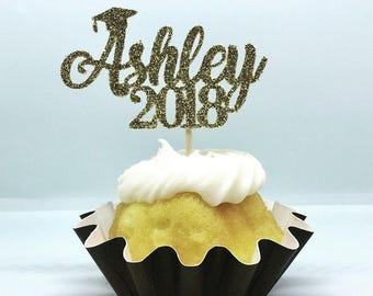 12ct Personalize glitter graduation name cupcake toppers, custom name cupcake topper, personalize name cupcake topper, calligraphy cupcake t