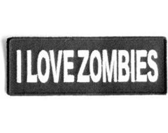 I Love Zombies Patch - By Ivamis Trading - 4x1.5 inch P3404