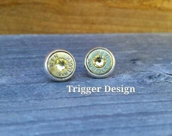 9mm Caliber Bullet Casing Post Earrings- Yellow