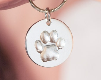 Custom pawprint necklace, pet memorial jewelry, personalized, cat paw necklace, gift for cat lover, pet sympathy gift, gift for cat parent