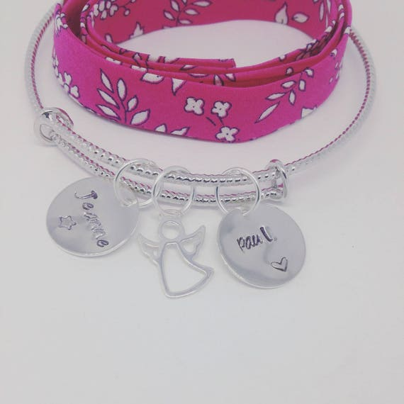"Personalized Bangle with 2 prints ""My Angel"" by Palilo jewelry"