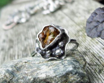 Sterling silver abstract ring with bezel set chunk of raw citrine