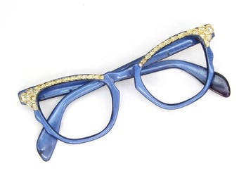 Vintage 50s Blue Cat Eye Glasses Eyeglasses Sunglasses Frame With Gold accents
