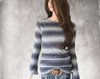 Poor boy stripe top/Navy sweater knit/Baby bell long sleeve/crew neck shirt