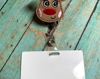 Reindeer badge reel, badge holder, Feltie badge, Reindeer badge, retractable ID Badge, Christmas badge clip