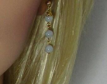 Three Bead, Aquamarine, Earrings Long, Drop Earrings - Dangle Earrings