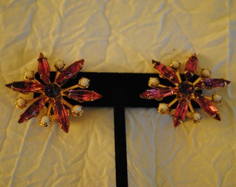 Pink and Purple Bead and rhinestone flower burst on gold clip on earrings