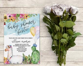 Fiesta Baby Shower Invitation, Llama Baby Shower Invitation, Cactus Baby Shower Invitation, Fiesta Invitation,Watercolor, Printable No. 827