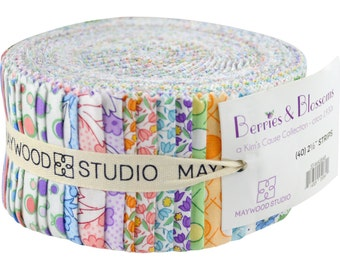 """Fabric Jelly Roll Floral Pastels Maywood Studio Berries & Blossoms - 40 strips 2.5"""" wide - 100% Cotton Sushi Roll Quilt Strips"""