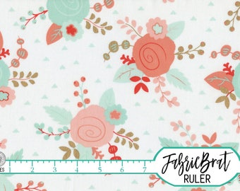 MODERN FLORAL Fabric by the Yard, Fat Quarter Peach Coral & Mint Fabric Gold Metallic Quilting Fabric 100% Cotton Fabric Apparel Fabric a5-4