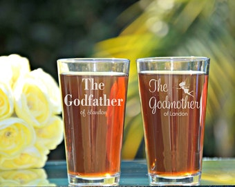 Godfather Godmother Gift, Baptism Gift for Godparents, Will You Be My Godparents, Christening Gift, Fairy Godmother, Godfather Beer Glass