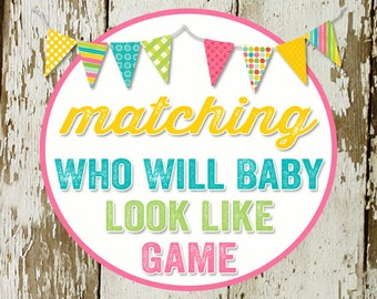 GUESSES who will baby look like  to match any design for baby shower or party, digital, DIY printable file katiedid designs cards