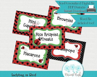 Ladybug in Red Printable Label Cards (Blank) / Food Labels / Seating Cards / Tent Cards / Etiquetas para Mesa