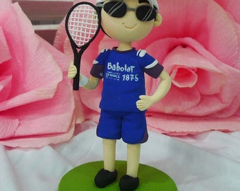 Cake topper tennis player handicraft clay doll,clay miniature birthday cake topper,personalized clay figurine for valentine,special occasion
