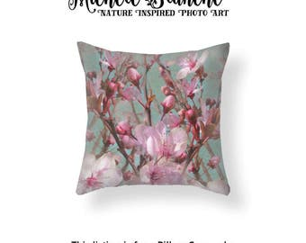 Cherry Blossom Photo Pillow, Pink Flower Blossoms Toss Pillow, Pink Blooms Turquoise Sky Cushion Cover, Cottage Chic Throw Pillow