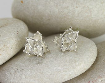 Agave Earrings in Sterling Silver, Succulent Studs, Silver Agave Earrings