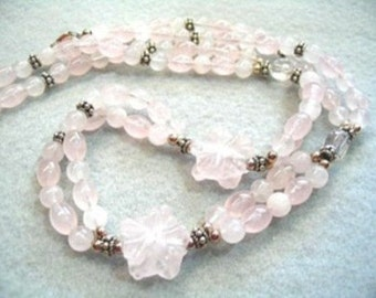 Pink Rose Quartz Stone Bead Necklace, Double Strand Gemstone Pink Carved Flower Beaded Necklace, Handmade Jewelry Gift, Clear Crystal Beads