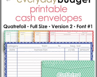 Quatrefoil Printable Cash Envelope Ver.2, Budgeting System, Money Budget Envelopes, Cash Organizer - Set of 5, Instant Download - PB1509