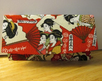 """Japanese Red Fabric Foldover Wallet with Geisha Girls on Fans, 7""""x4"""""""