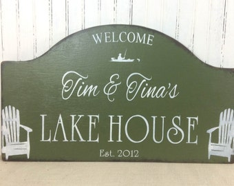 Rustic custom Lake House personalized  hand painted cabin sign, cabin decor, custom cottage sign,at the lake sign, realtor housewarming gift