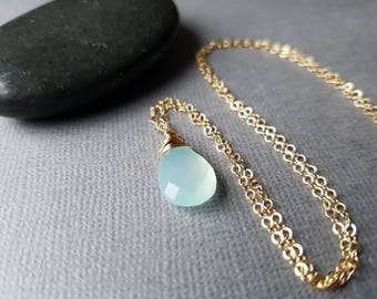 14k Gold Aqua Chalcedony Necklace, Aqua Gemstone, 14k Gold necklace, Minimalist Jewelry, Dainty Necklace, Dainty Jewelry, Gift For Her